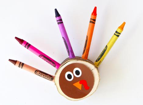 Crayon Turkeys - Thanksgiving crafts for children