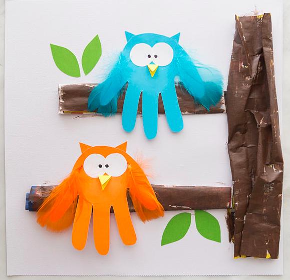 Owl Handprint - Thanksgiving crafts for kids