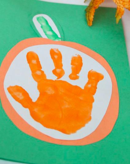 Pumpkin handprint Greeting Card